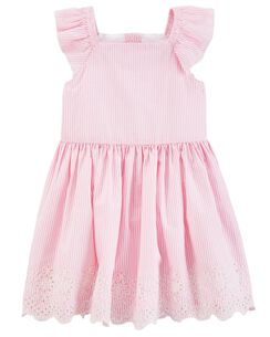 Embroidered Poplin Dress