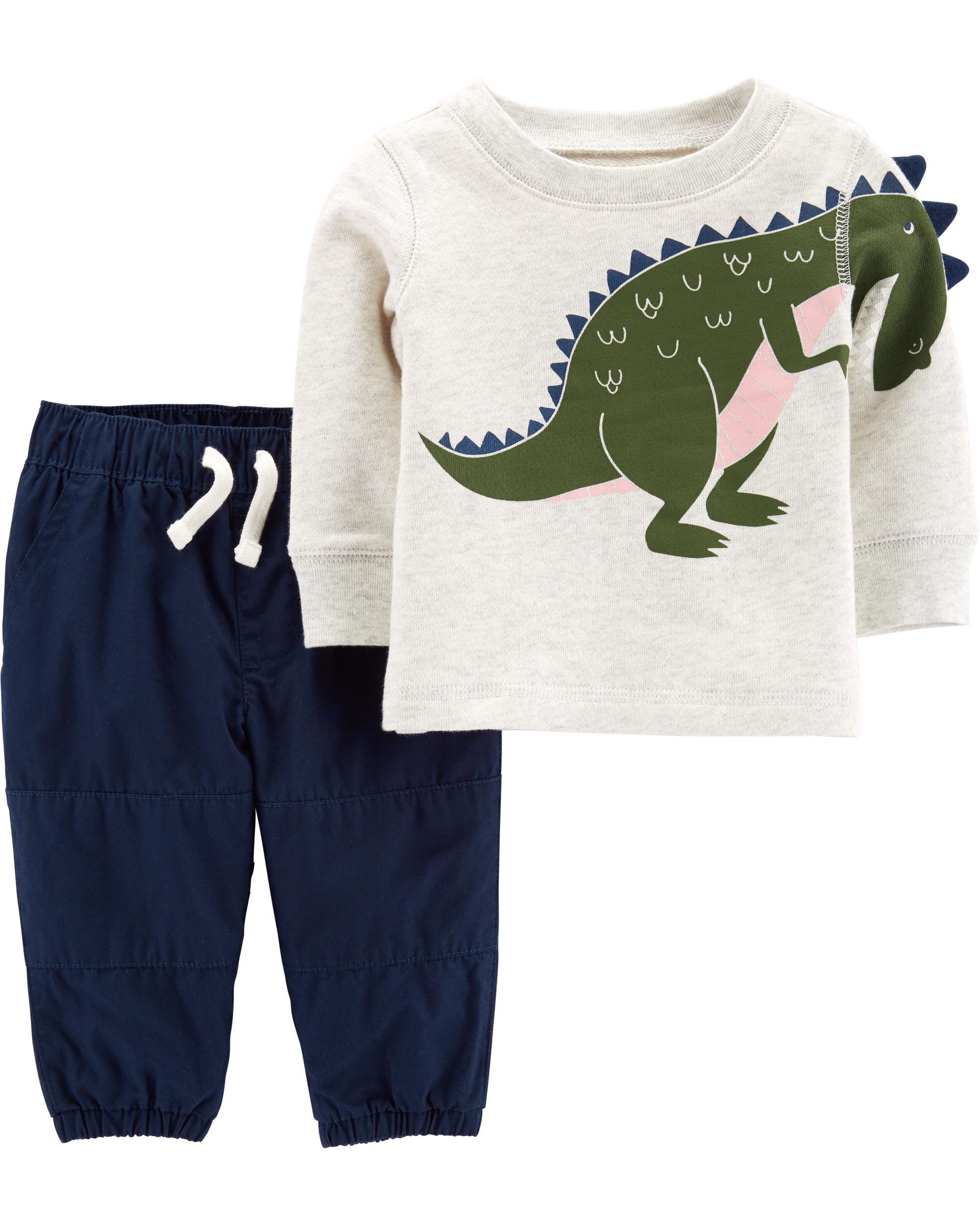 c0e8fb1e6 2-Piece Dinosaur Top & Poplin Pant Set. Loading zoom