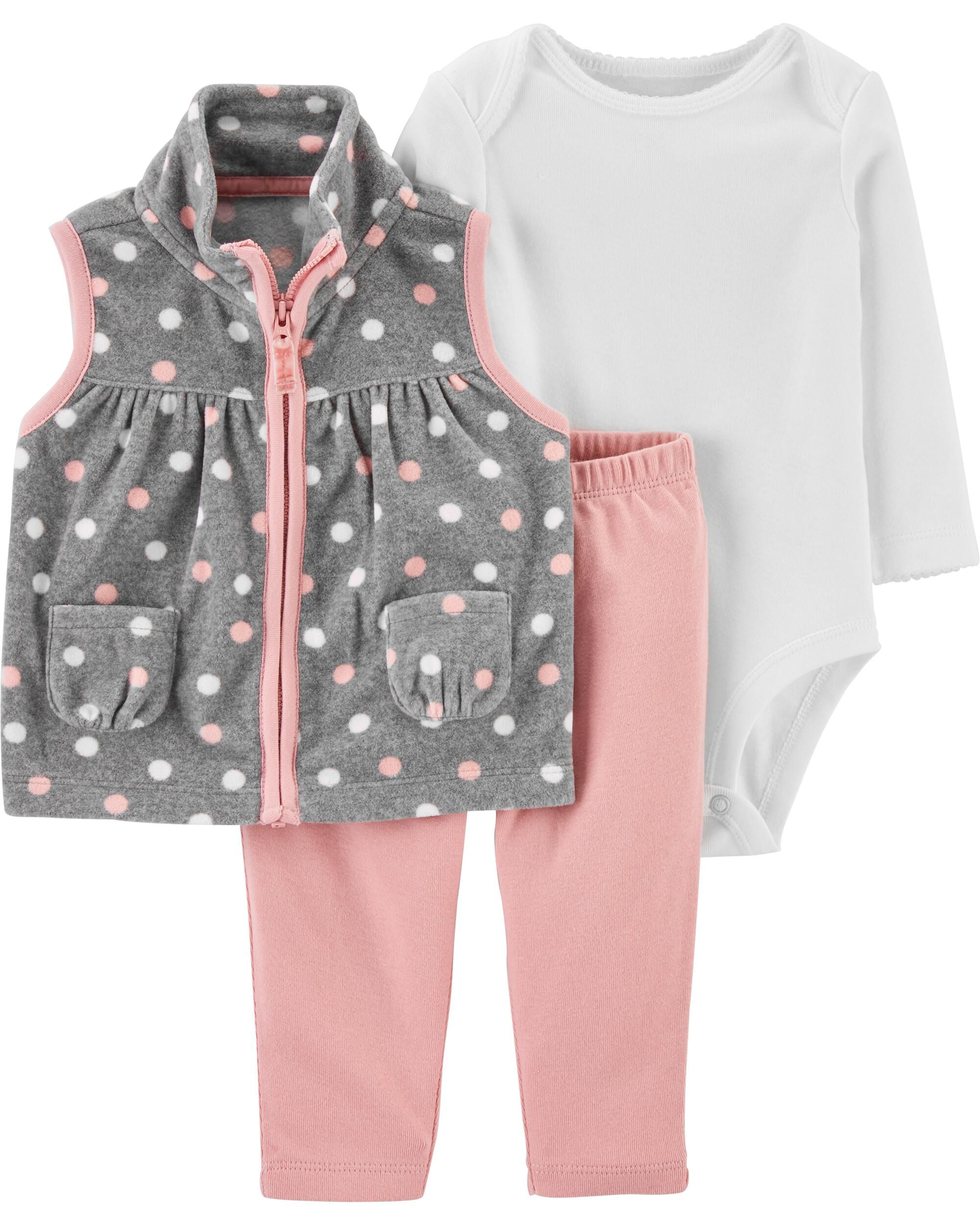 *CLEARANCE* 3-Piece Polka Dot Little Vest Set