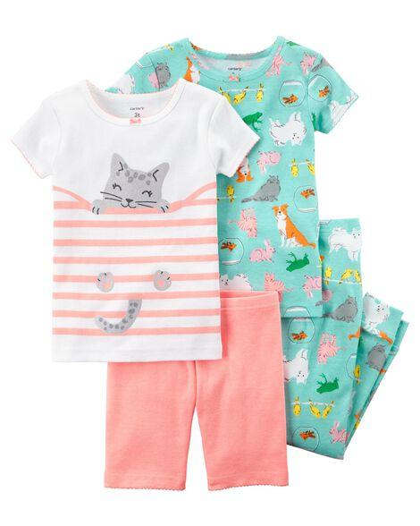 4-Piece Neon Snug Fit Cotton PJs