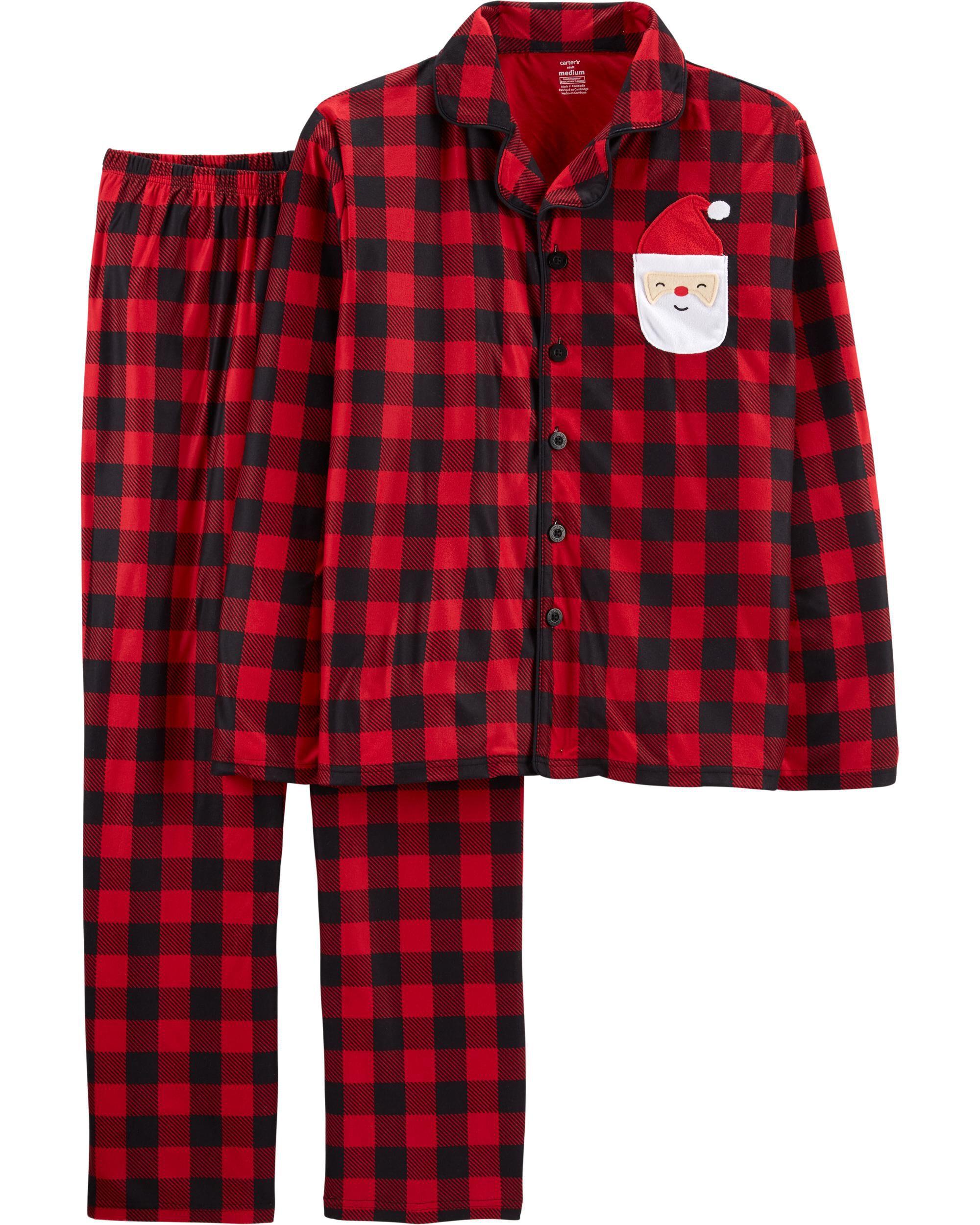 2-Piece Santa Buffalo Check Coat Style Fleece PJs for Adults