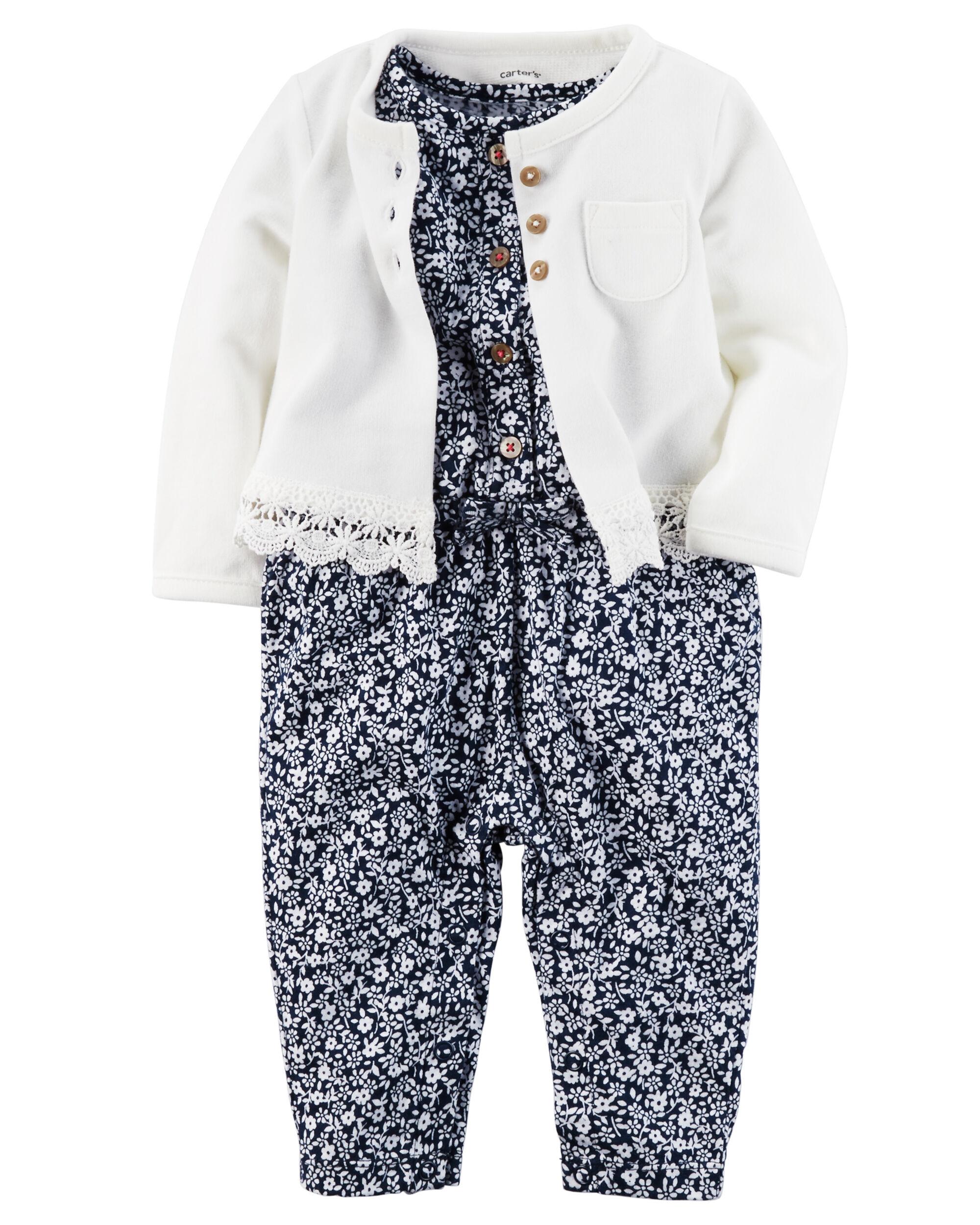 2 Piece Jumpsuit & Cardigan Set