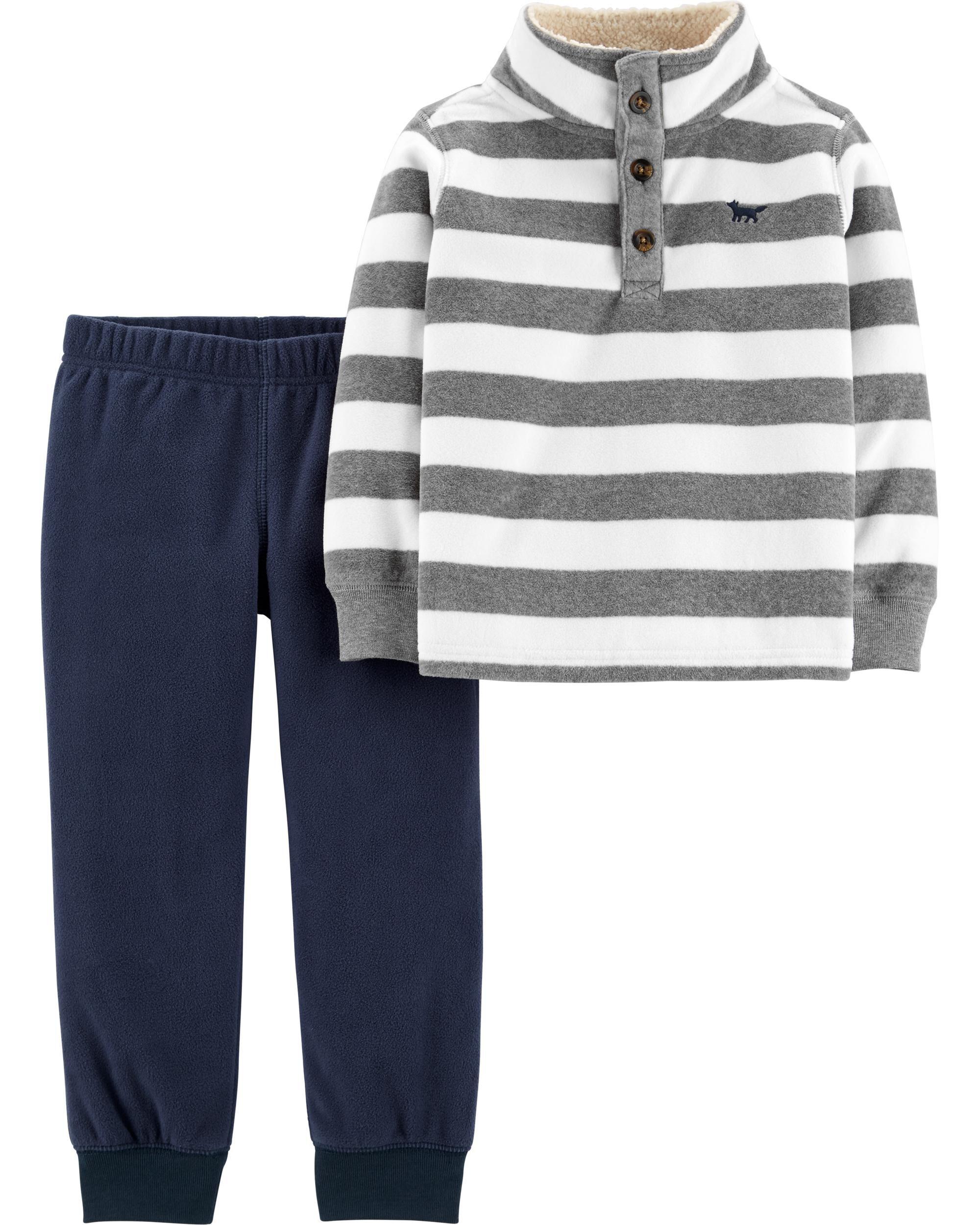 2-Piece Striped Fleece Pullover & Jogger Set