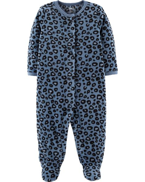 1064b541634d Baby Girl Leopard Snap-Up Fleece Sleep   Play