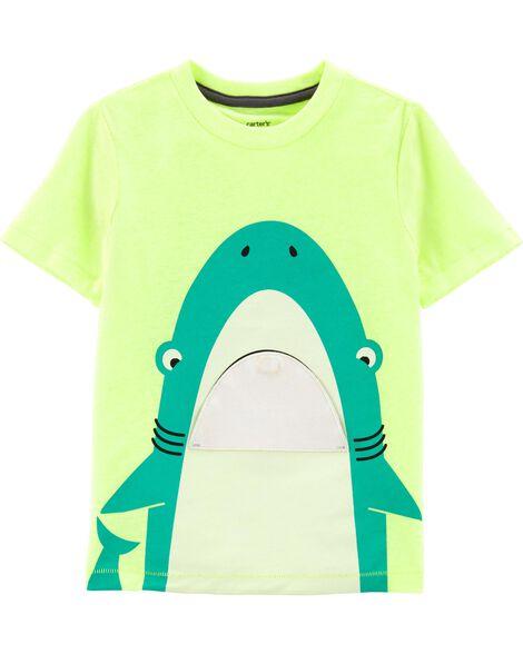 fbd3da0cb Neon Shark Peek-A-Boo Flap Snow Yarn Tee   Carters.com