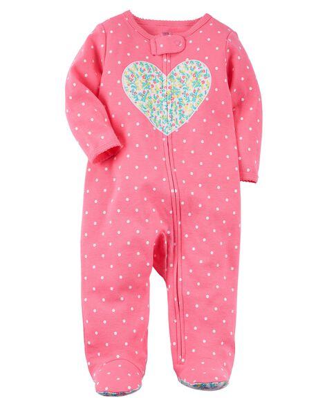 Zip-Up Heart Cotton Sleep & Play