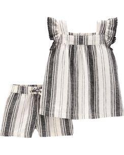 da9219cdb4a30 2-Piece Striped Flutter Top & Linen Short Set