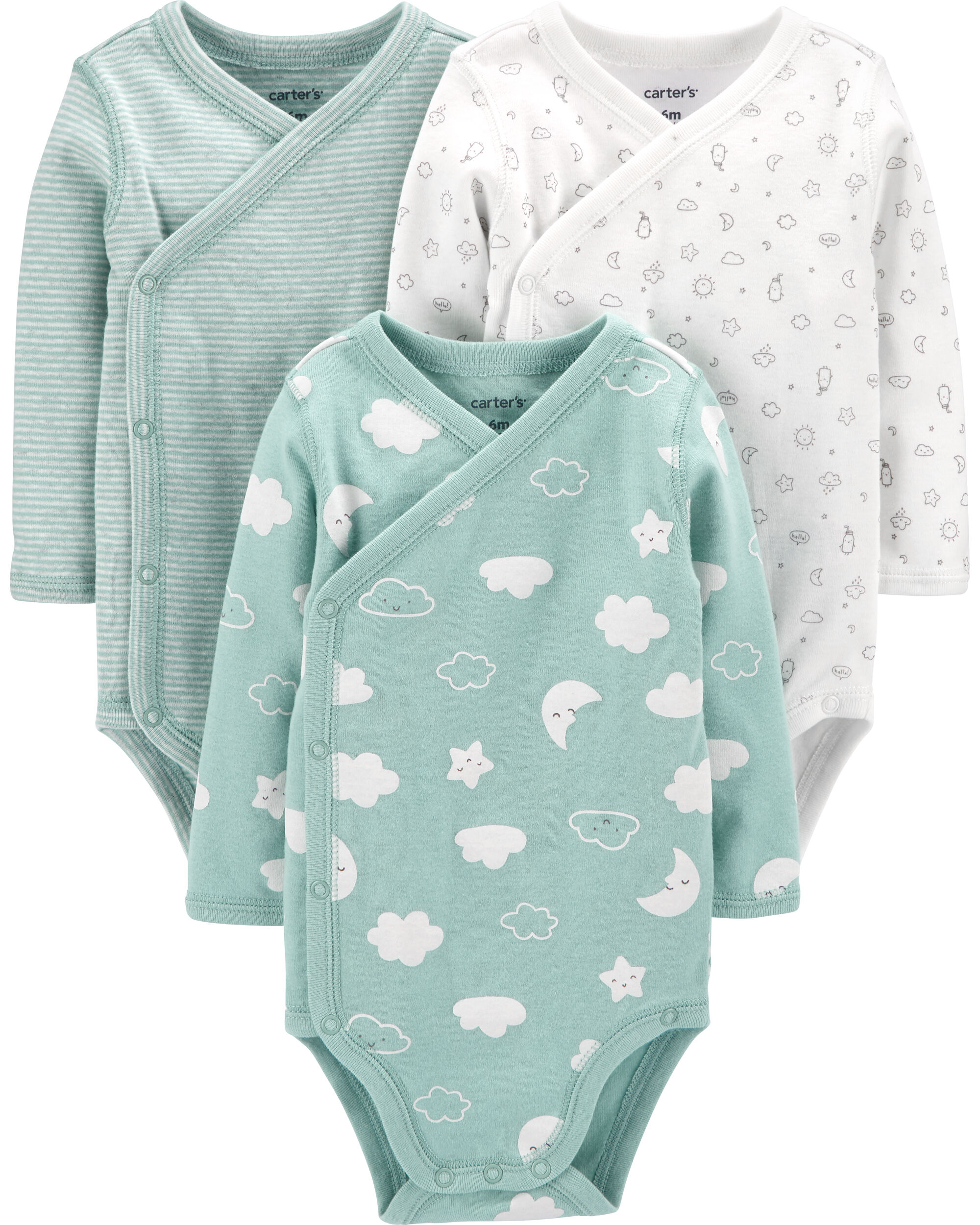 *CLEARANCE* 3-Pack Clouds Side-Snap Bodysuits