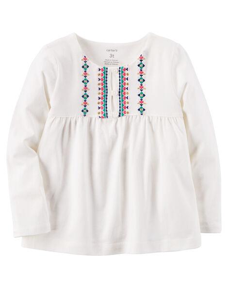 da7e82b4 Embroidered Babydoll Top | Carters.com
