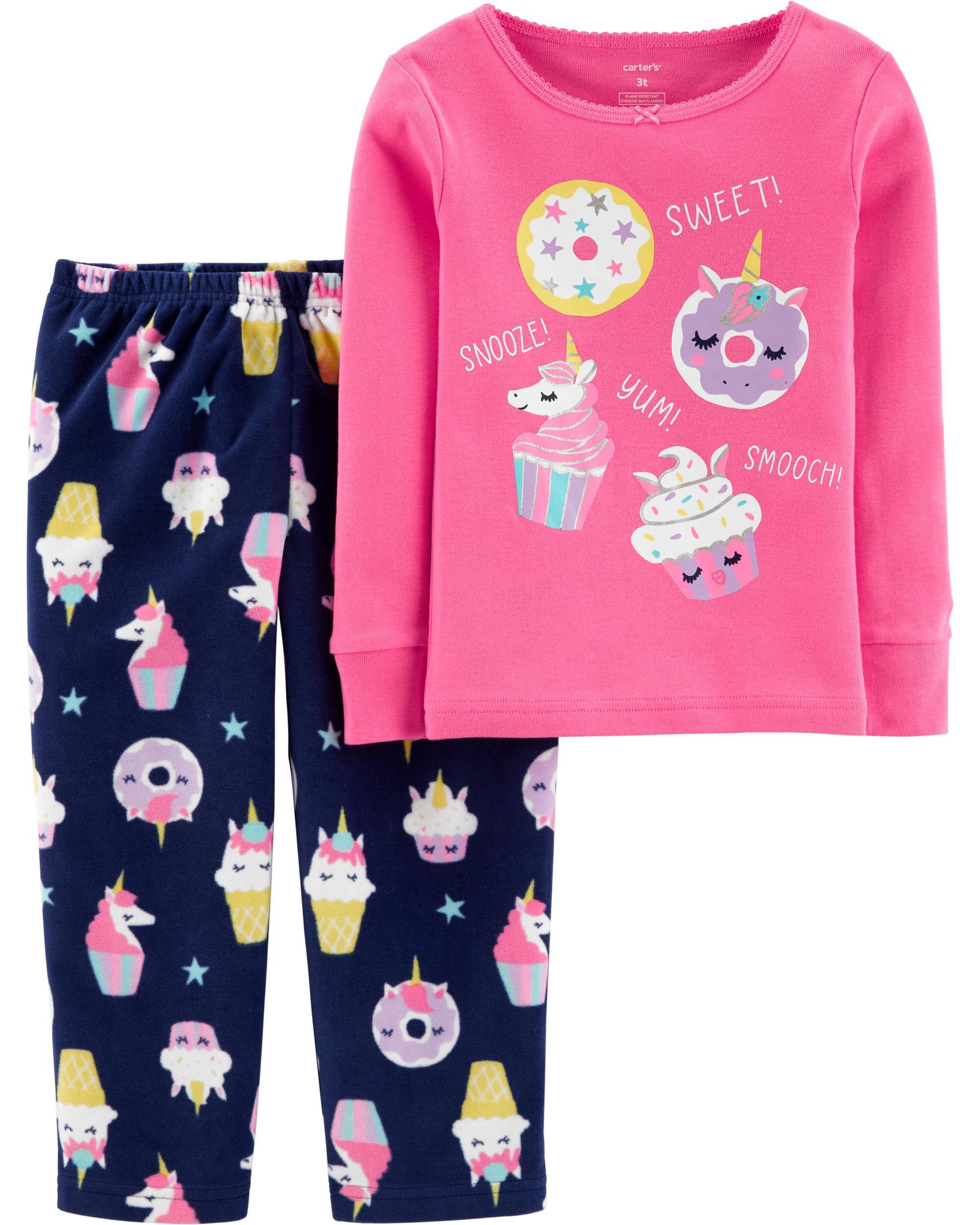 *CLEARANCE* 2-Piece Sweets Snug Fit Cotton & Fleece PJs