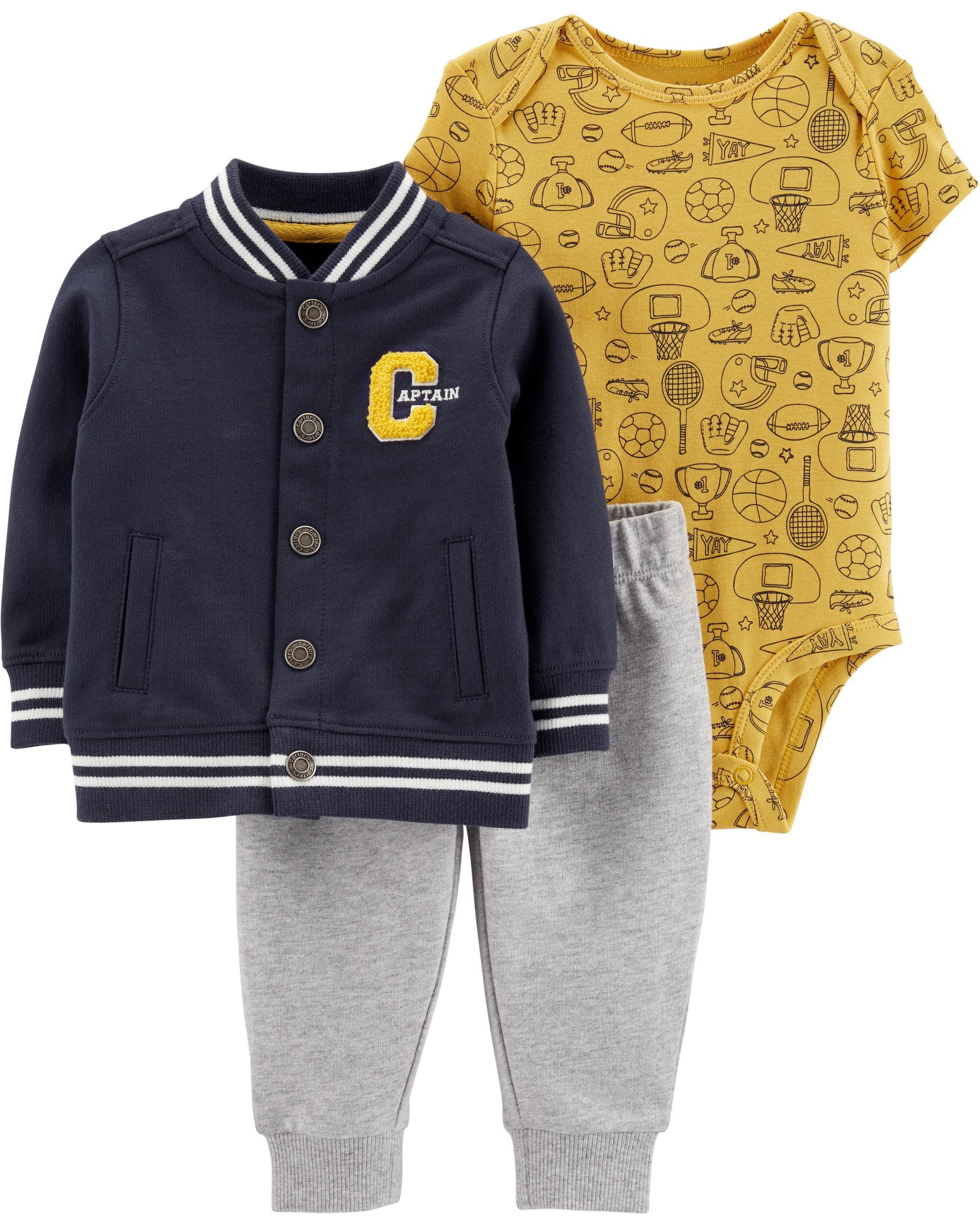 3-Piece Varsity Sports Little Jacket Set