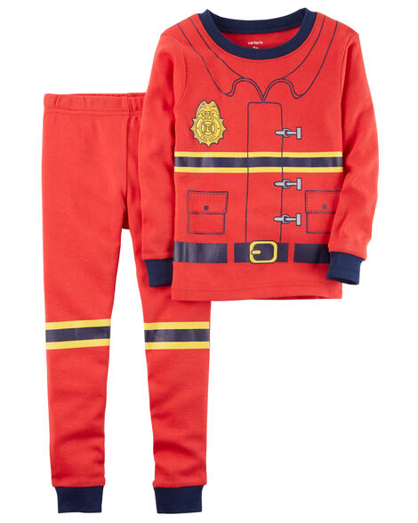2-Piece Firefighter Snug Fit Cotton PJs