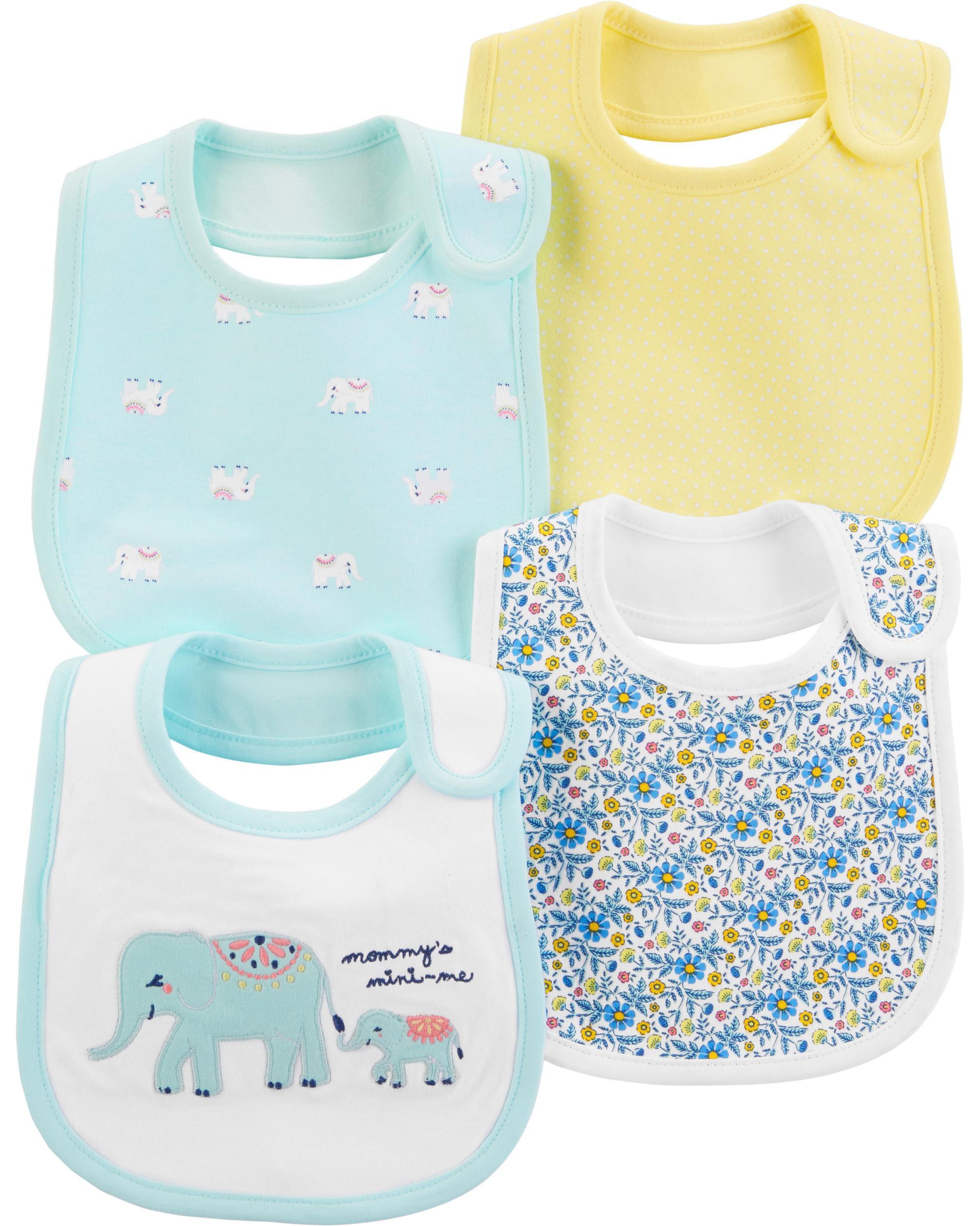 b11dd0fd0 4-Pack Elephant Teething Bibs. Loading zoom