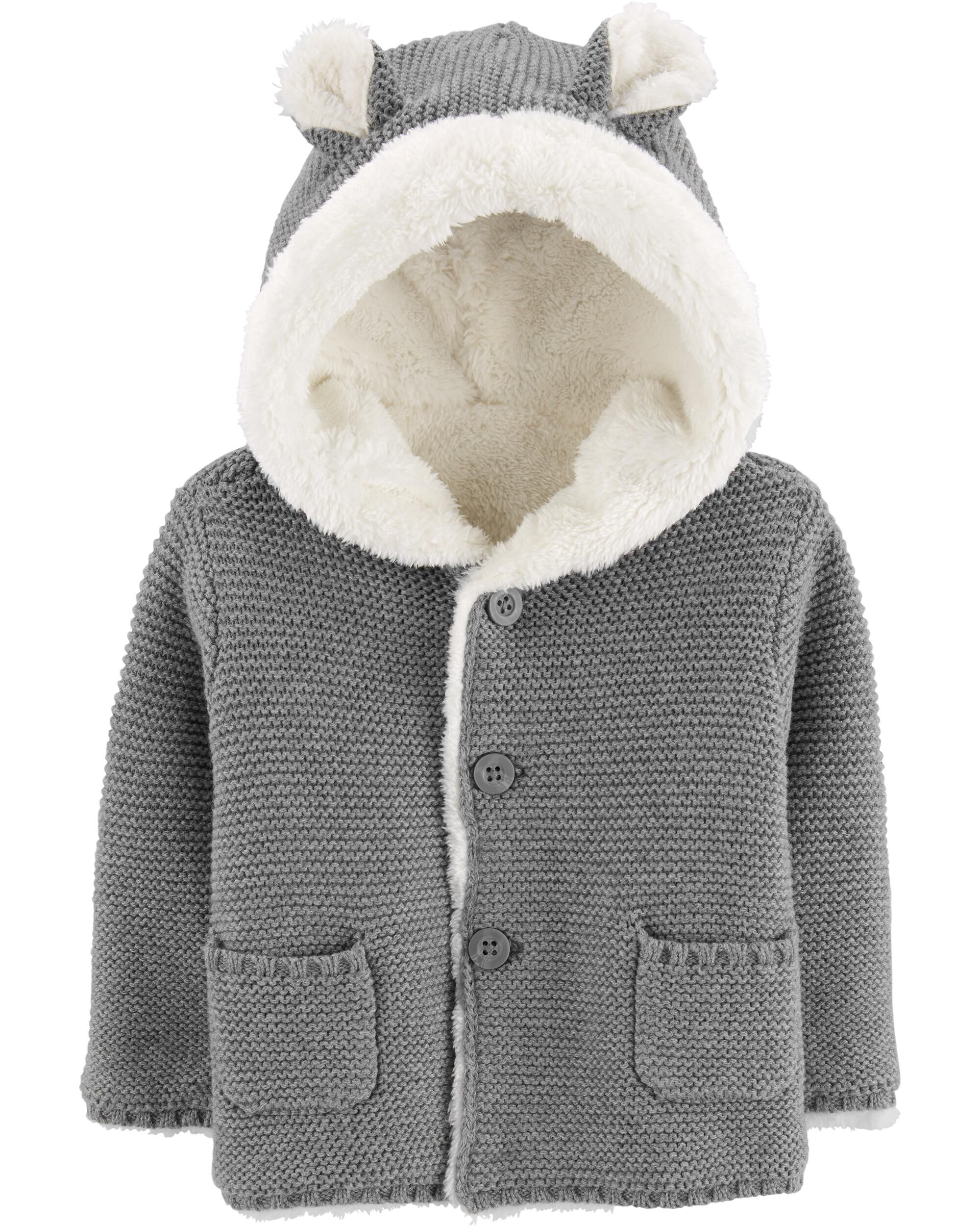 Sherpa-Lined Hooded Cardigan