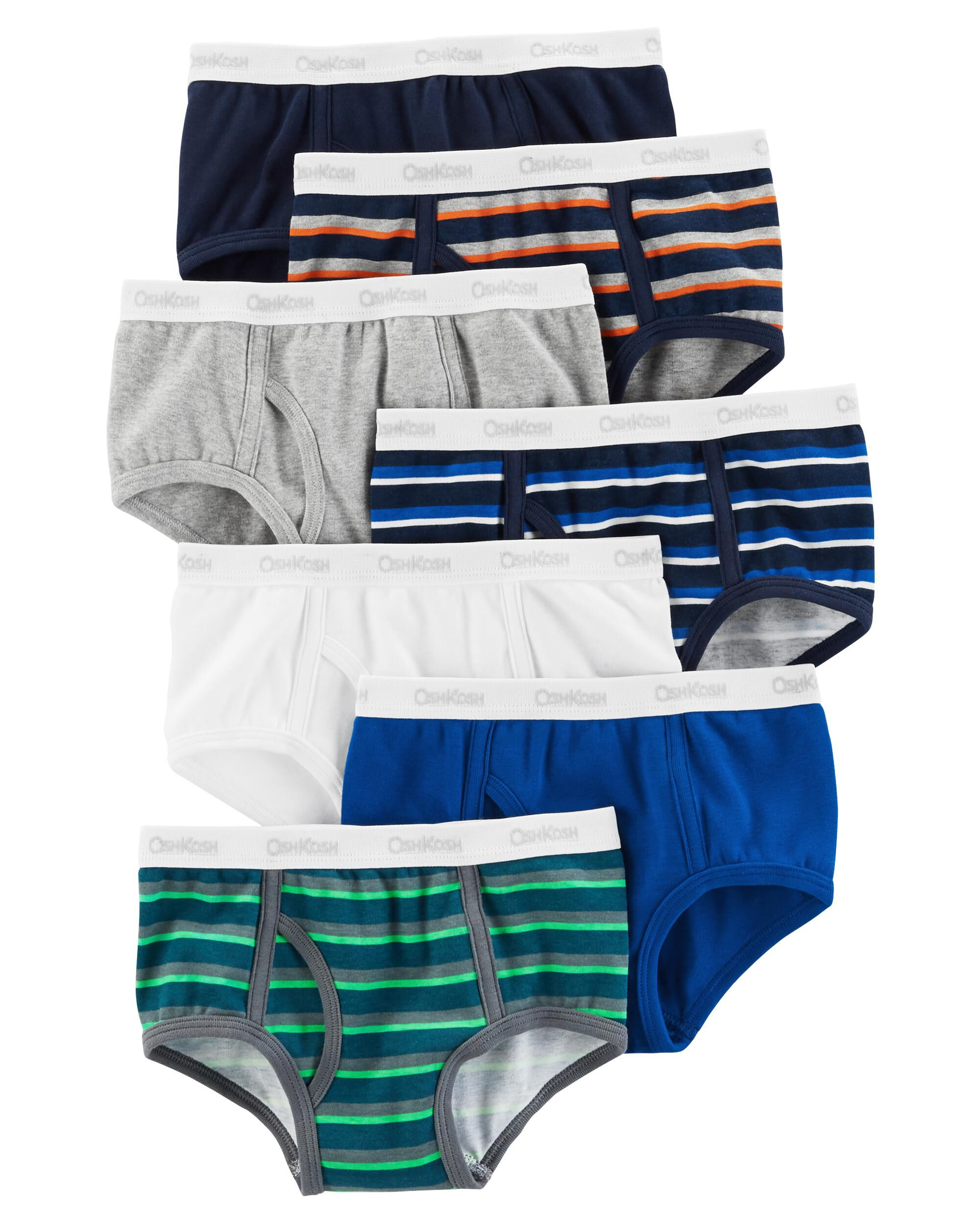 New OshKosh Boy 7 Pack Underwear Boys Briefs NWT 4 8 14 Year Solid White Red