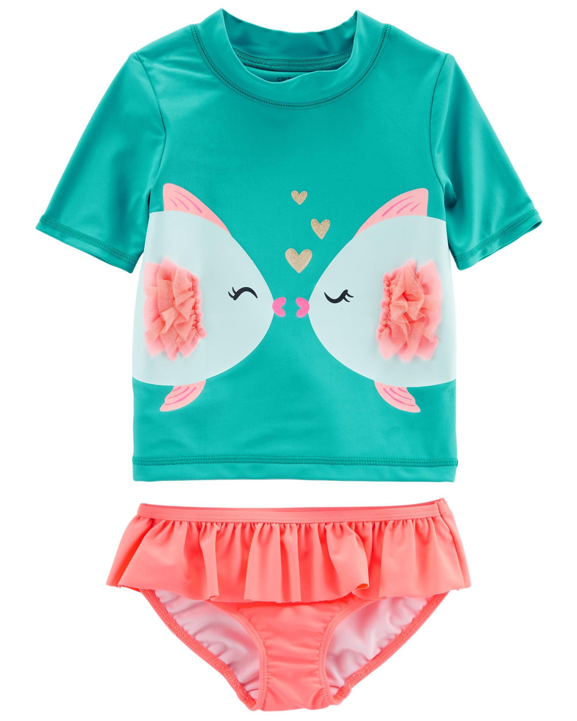 Carters 4t 2 Piece Rashgurd Swim Set Swim Suit Bathing Suit Excellent Condition Clothing, Shoes & Accessories Swimwear