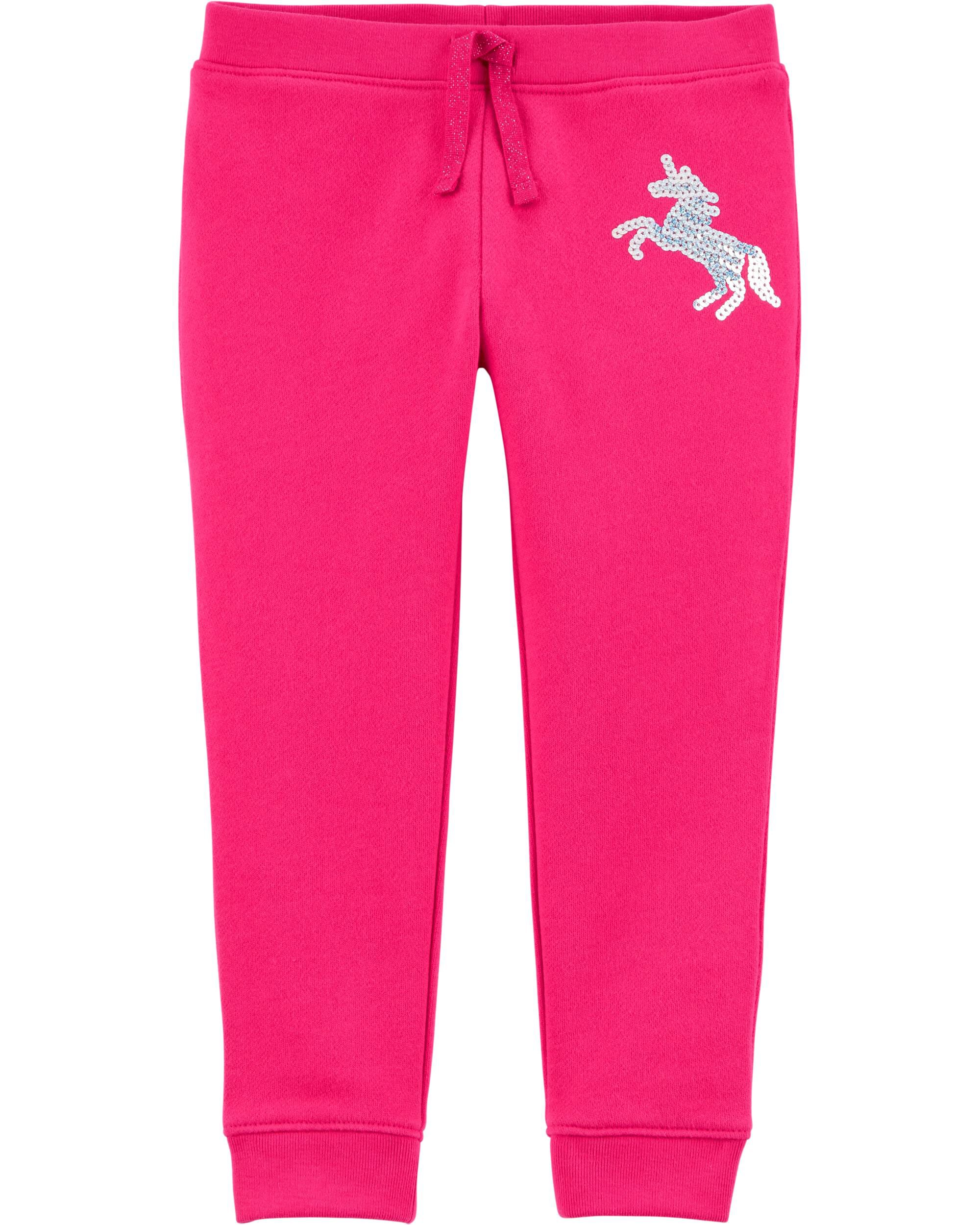 *CLEARANCE* Sequin Unicorn Pull-On Fleece Joggers