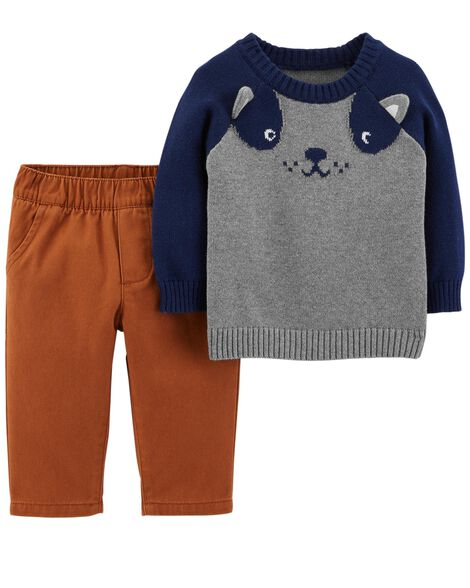 ca2d58fa03cb 2-Piece Dog Sweater   Twill Pant Set