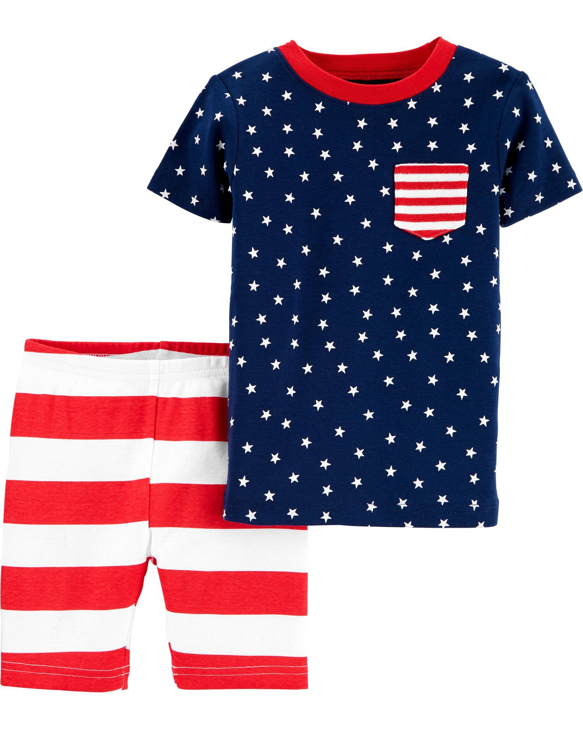 *CLEARANCE* 2-Piece American Flag Snug Fit Cotton PJs