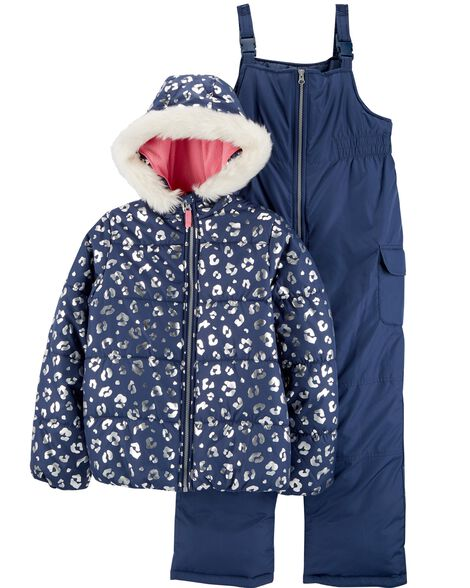 b0c4dfa32 2-Piece Foil Leopard Snowsuit Set