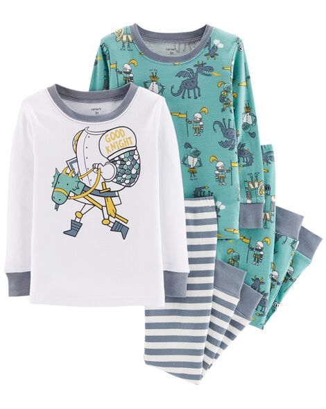 4-Piece Good Knight Snug Fit Cotton PJs