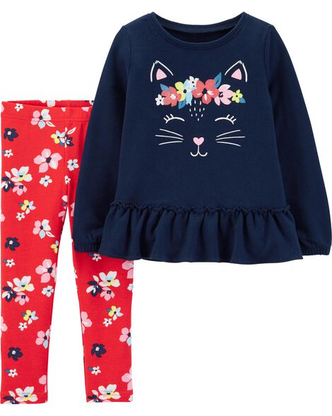878a178a27479 2-Piece Kitty French Terry Top & Floral Legging Set | Carters.com
