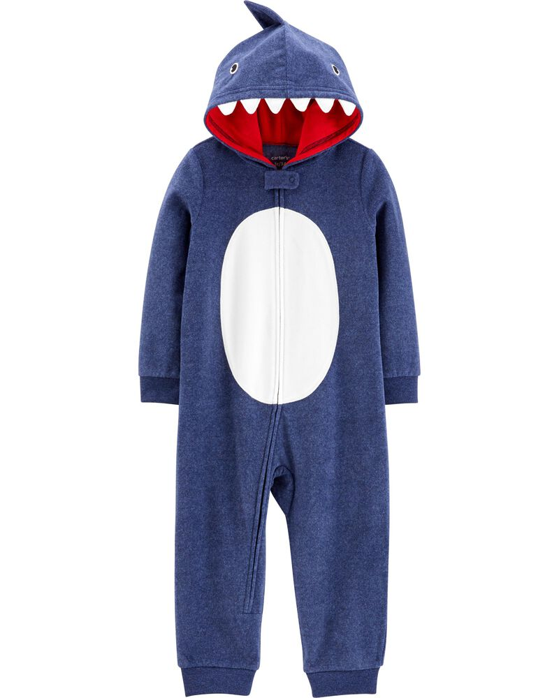 carters 1-Piece Shark Hooded Fleece Footless PJs