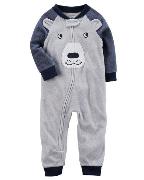 c6ee843a9b36 1-Piece Bear Footless Fleece PJs