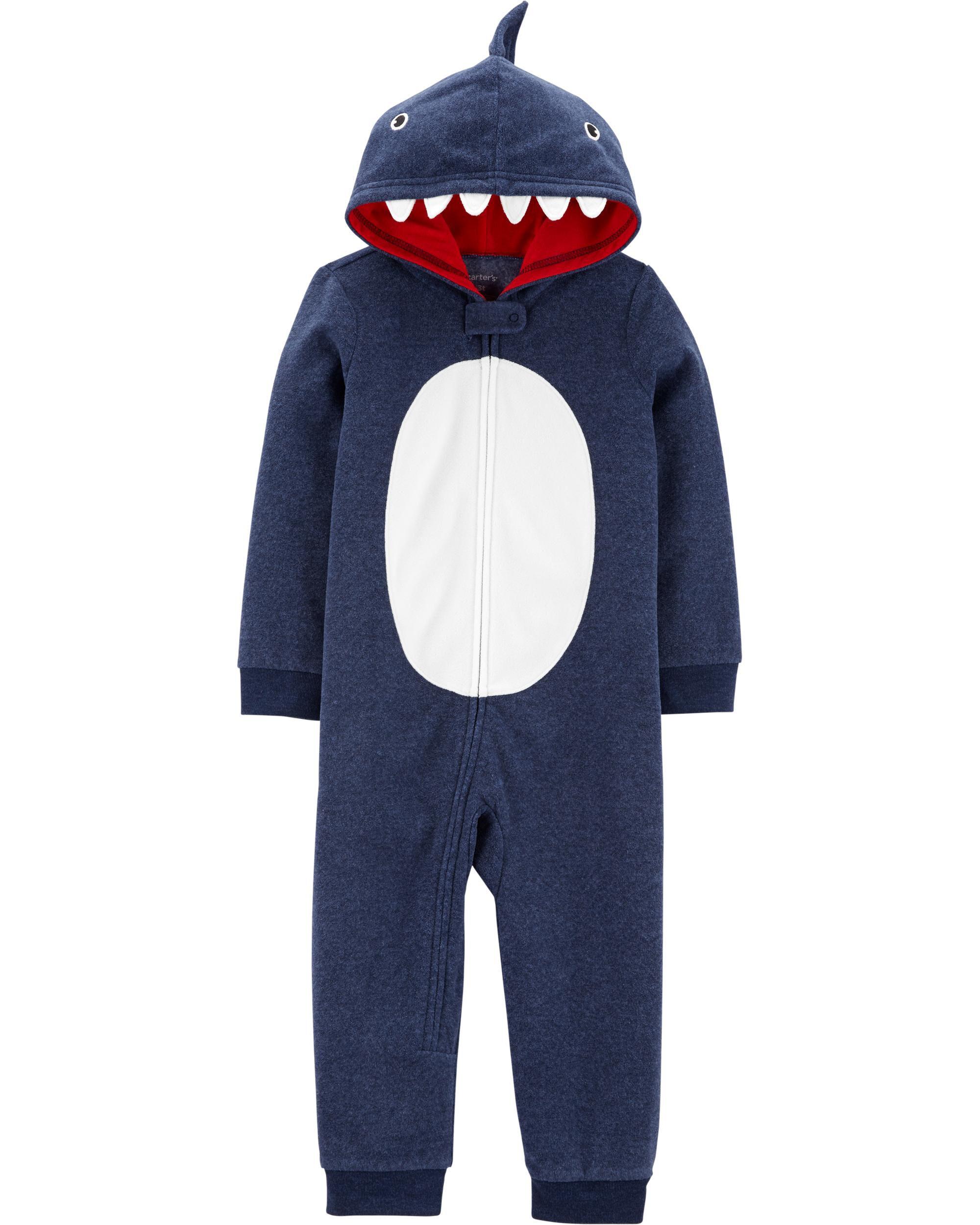 *CLEARANCE* 1-Piece Shark Hooded Fleece Footless PJs