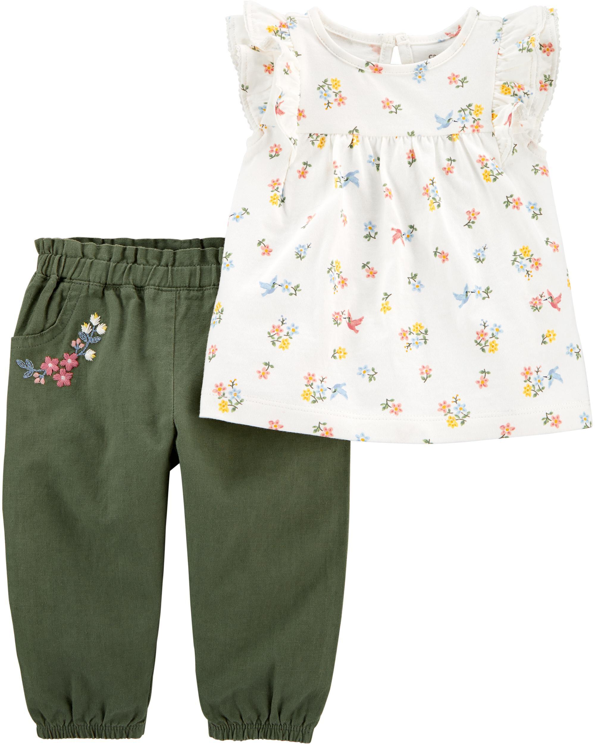 *CLEARANCE* 2-Piece Floral Jersey Top & Linen Pant Set
