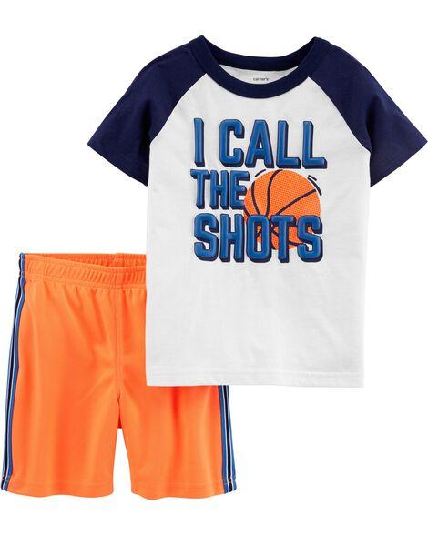 8dfa1f24d 2-Piece Basketball Jersey Tee   Mesh Short Set