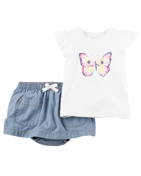 2-Piece Butterfly Tee & Chambray Skort Set