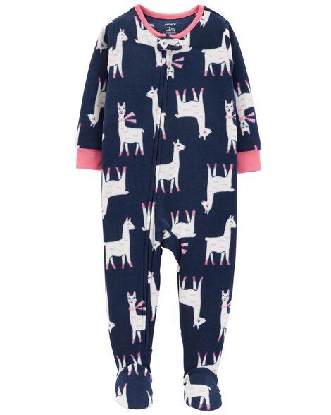 62a37e2f3cdf 1-Piece Llama Fleece PJs
