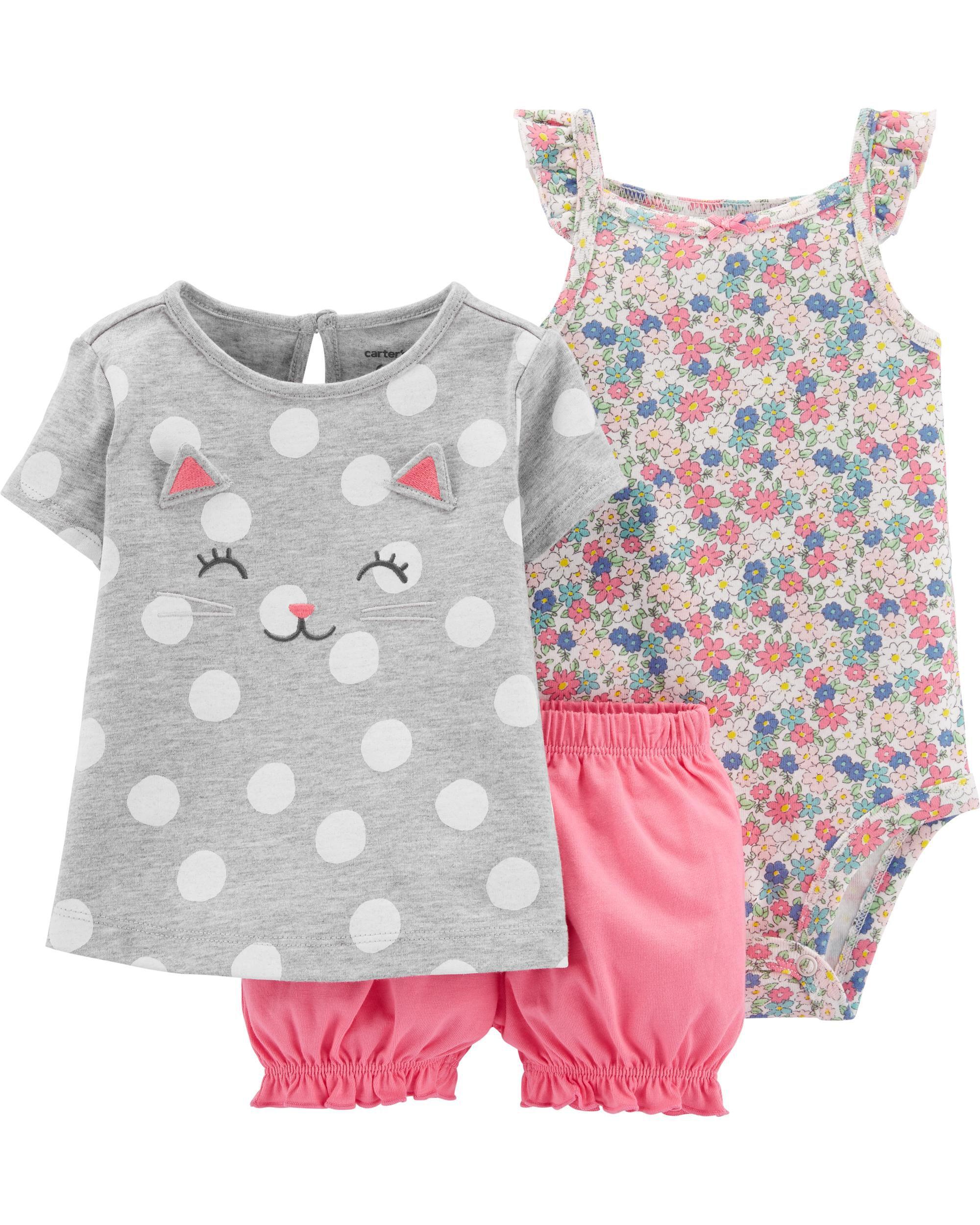 Carters Little Girls Pink 3D Ear Bubble Jacket