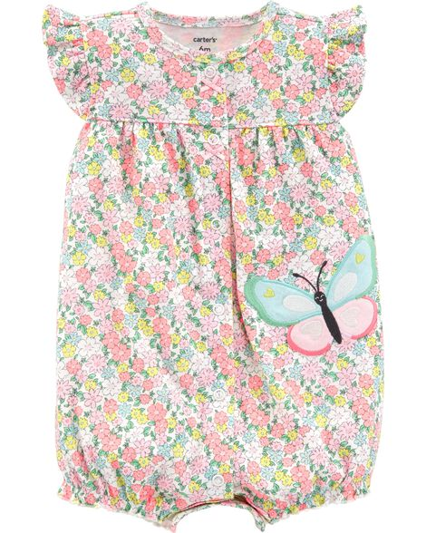 cfe4fffd9 Floral Butterfly Snap-Up Romper | Carters.com