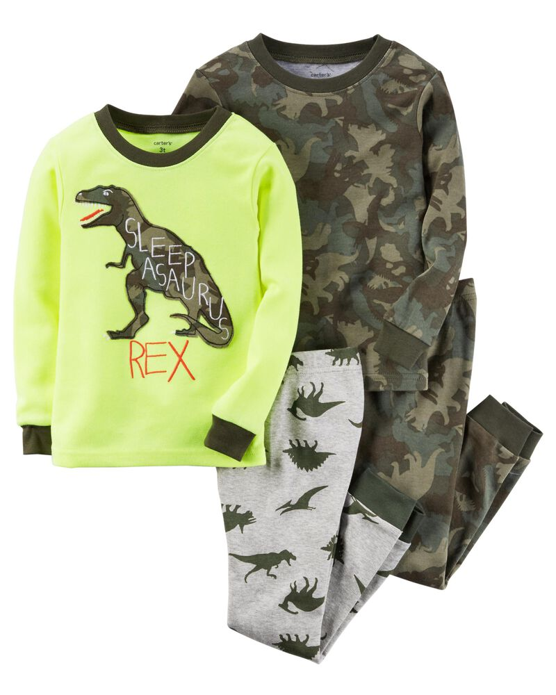 New Carter/'s Boys Dinosaur Pajama Snug Fit Gray Shorts Toddler