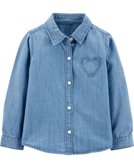 Denim Heart Button-Front Shirt