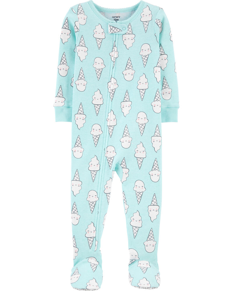 Carter/'s Multicolored Cream Cone Print Footed Toddler Girl/'s Pajamas Size 4T New