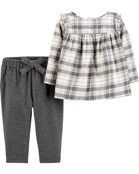 8aa2f8a2ec61 2-Piece Plaid Flannel Top   Pant Set