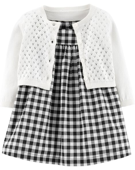68bc3772f 2-Piece Gingham Dress   Cardigan Set
