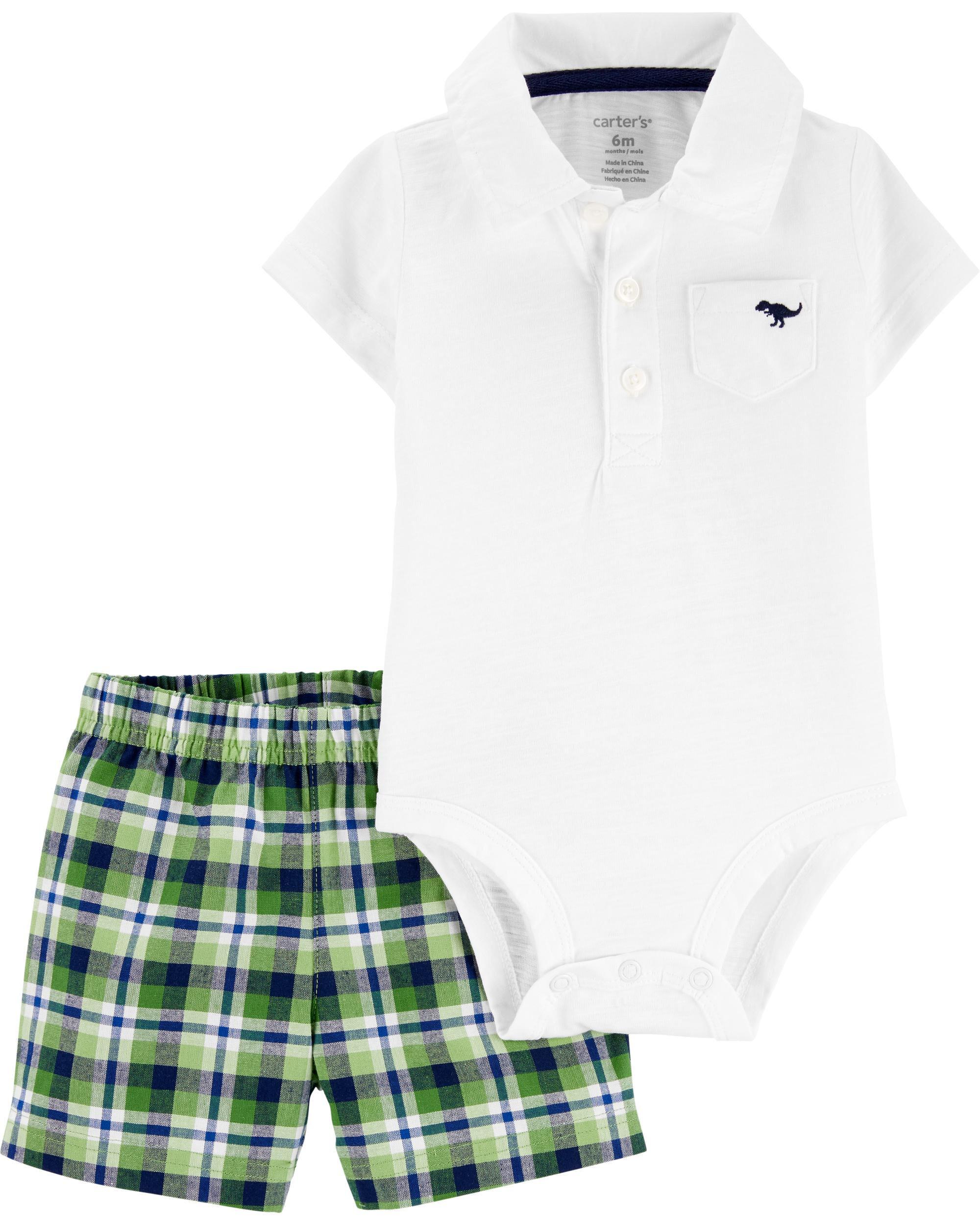 *DOORBUSTER* 2-Piece Polo Bodysuit & Plaid Short Set