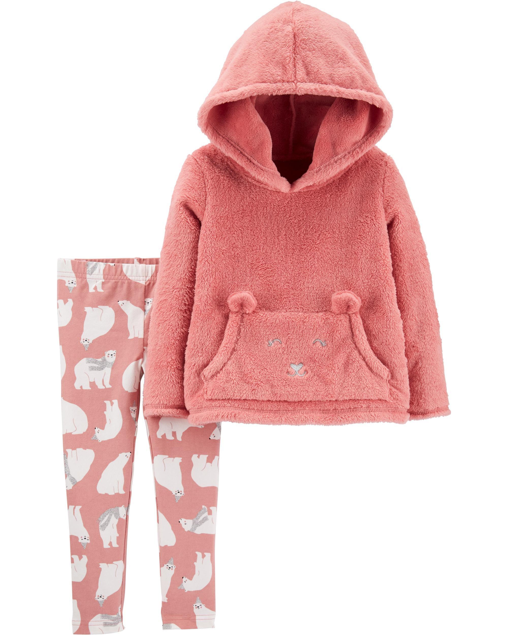 2-Piece Fuzzy Pullover & Polar Bear Legging Set