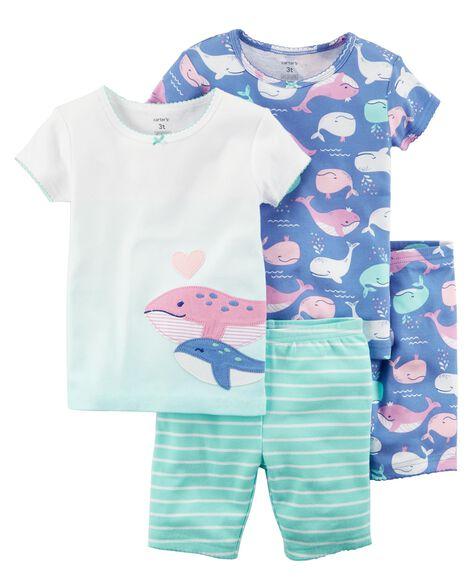 579327bca3e9 4-Piece Whale Snug Fit Cotton PJs