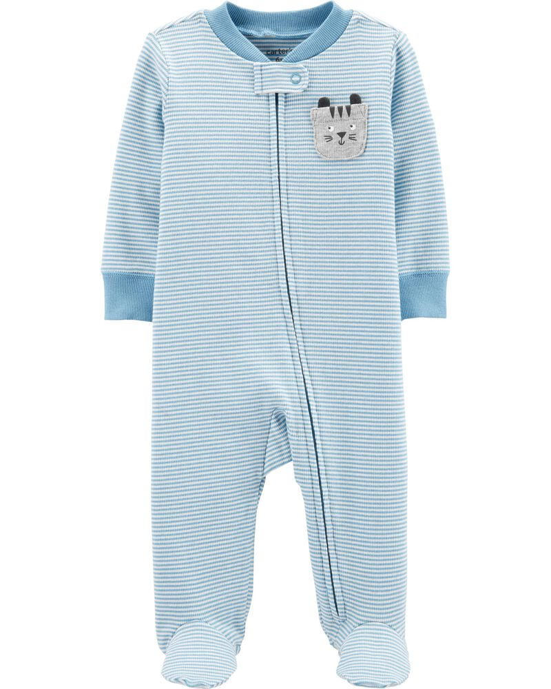 New Carter/'s Alligator Romper Sleep Snug Fit Cotton Pajama 1 Pc Boy Stripe