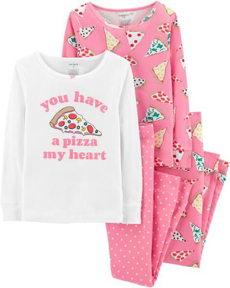 4-Piece Pizza Snug Fit Cotton PJs