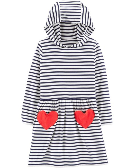 Striped Heart Hooded Jersey Dress