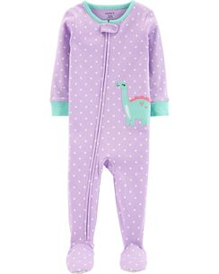 735384248bf0 1-Piece Dinosaur Footed Snug Fit Cotton PJs