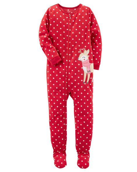 6e387114dc28 1-Piece Reindeer Fleece PJs