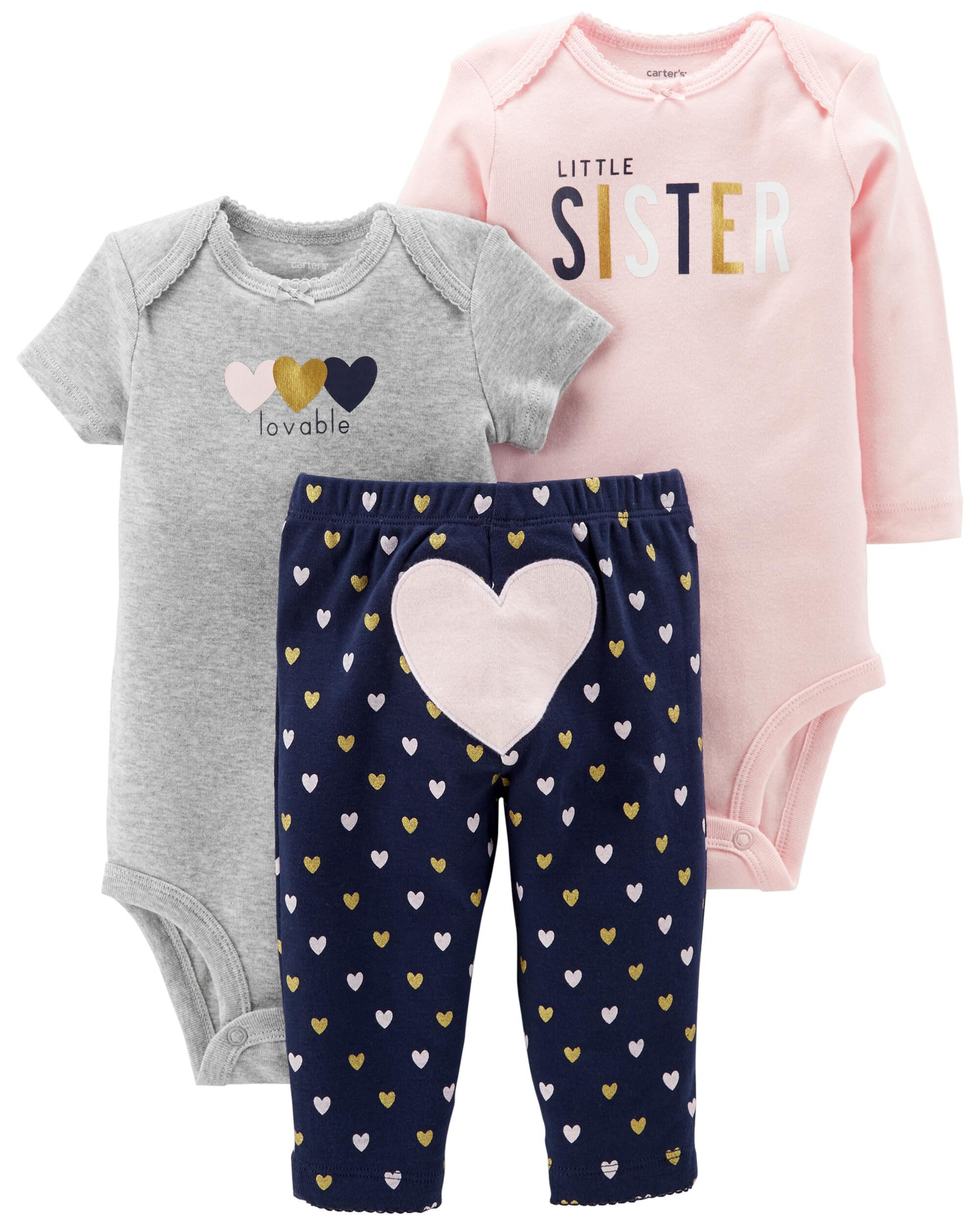 Carter/'s Cute 3 Piece Set Bodysuits /& Trousers /'Little Guy/'