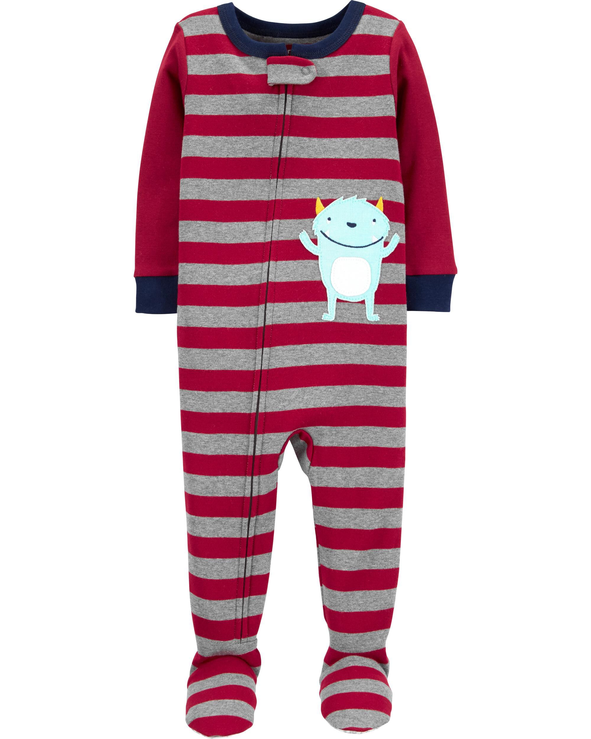 Carters Baby Boys 12M-3T One Piece Striped Dino Pocket Snug Fit Cotton PJS